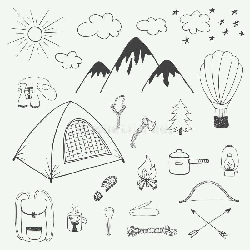 Приключения вручают вычерченный комплект doodle в винтажном стиле бесплатная иллюстрация