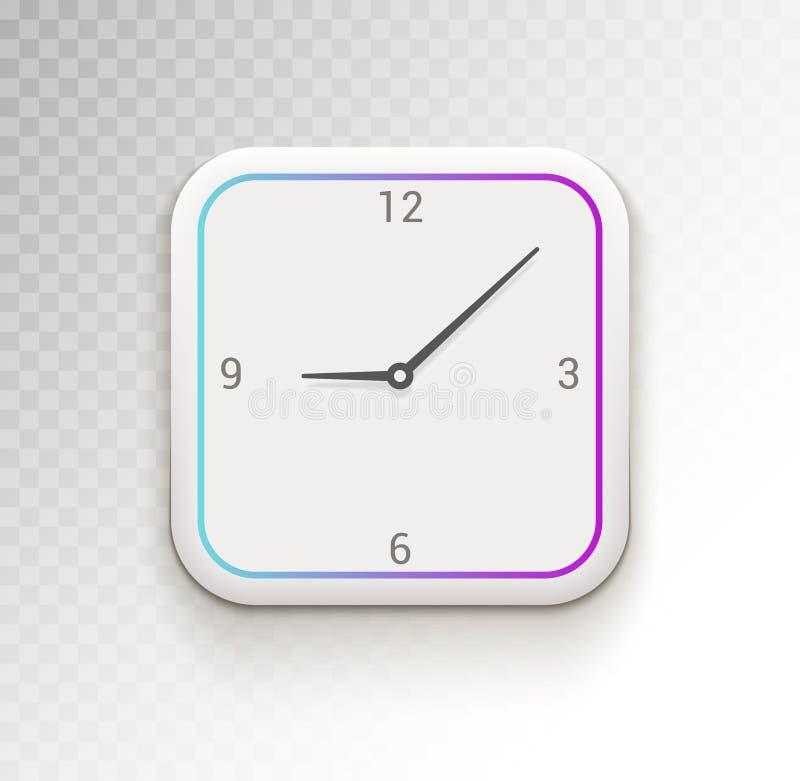 Приложение или приспособление телефона вектора ui часов Время ui цифровых часов иллюстрация вектора