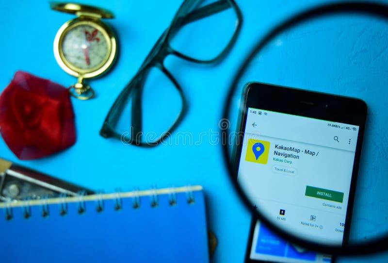 Приложение dev навигации KakaoMap с увеличивать на экране смартфона стоковая фотография