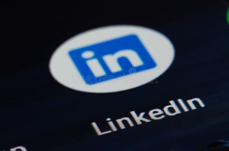 Приложение LinkedIn стоковая фотография rf