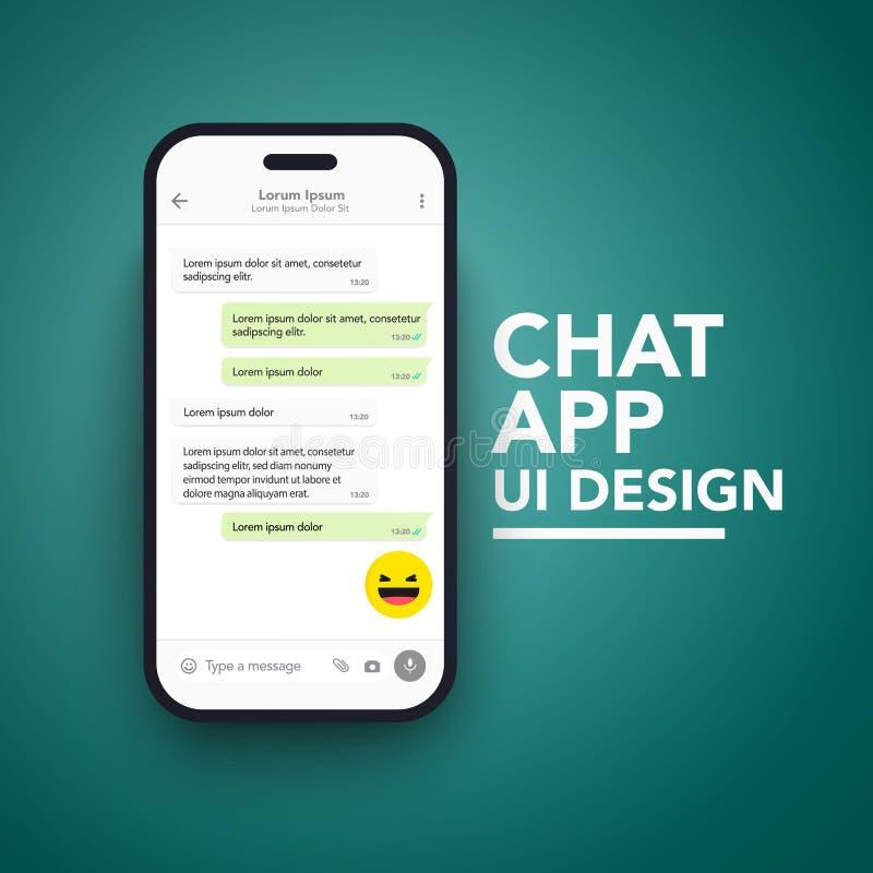 Приложение UI болтовни вектора минималистское мобильное и концепция UX тема Шаблон экрана смартфона модель-макета иллюстрация вектора