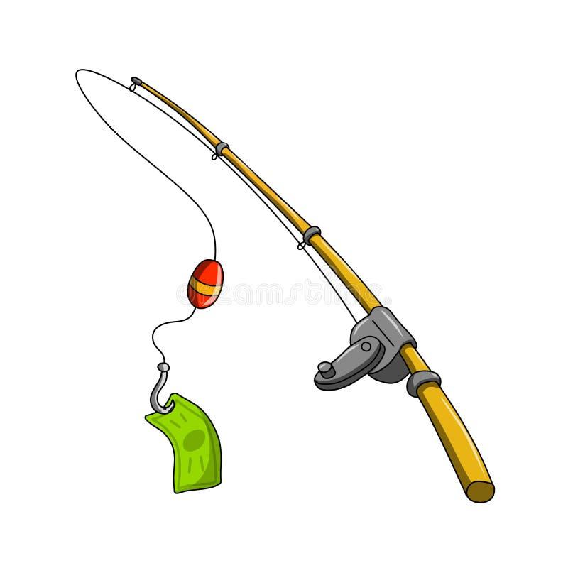 Приманка рыболова с его банкнотой задвижки - vector иллюстрация иллюстрация штока