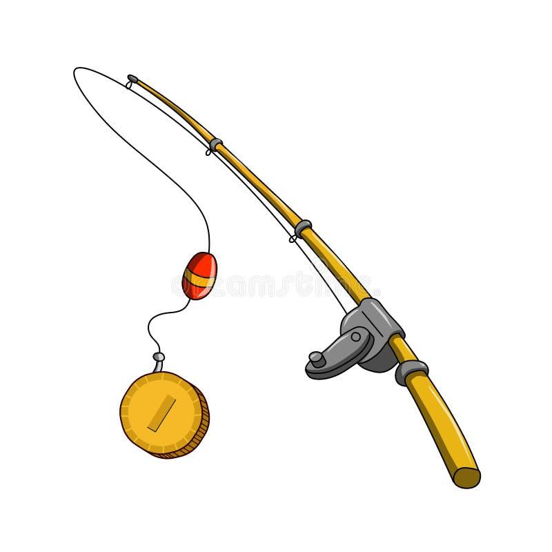 Приманка рыболова с его монеткой задвижки - vector иллюстрация иллюстрация штока