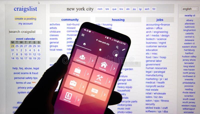 Применение андроида Craigslist стоковое фото rf
