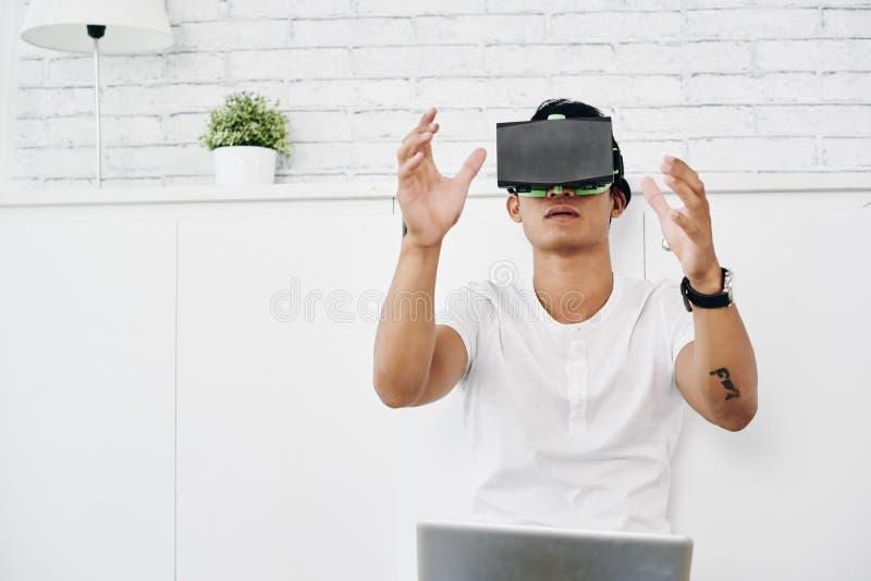 Применение испытания VR стоковые изображения