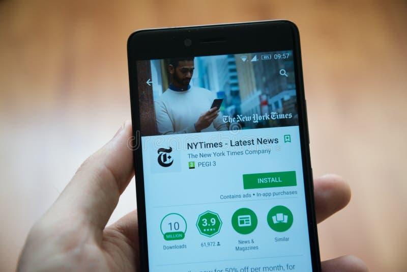 Применение Нью-Йорк Таймс в магазине игры Google стоковое изображение