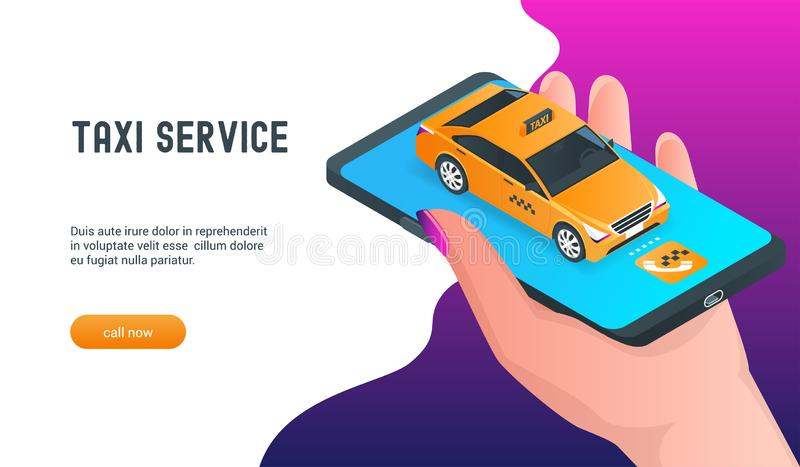 Применение онлайновой службы такси мобильное иллюстрация штока