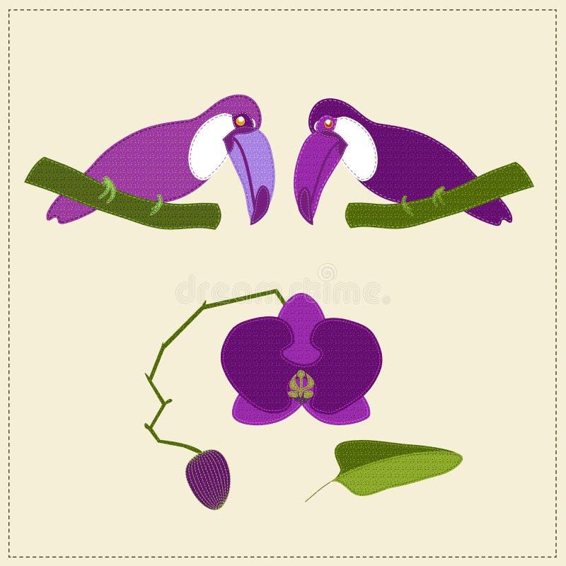 Применение 2 сшило розовые toucans смотря вниз на сшитой орхидее с бутоном иллюстрация штока