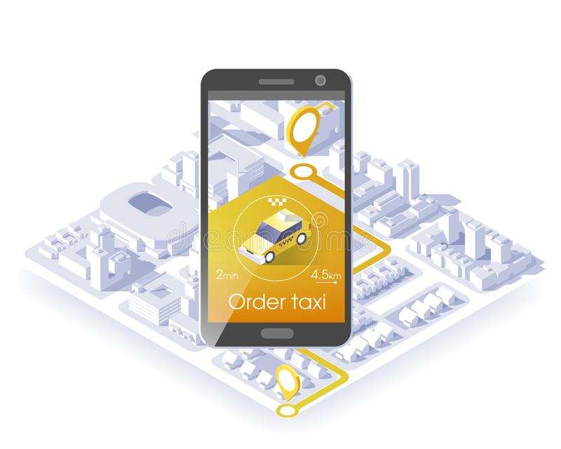 Применение черни обслуживания такси Равновеликие город и автомобиль на умном телефоне Проводите применение также вектор иллюстрац бесплатная иллюстрация