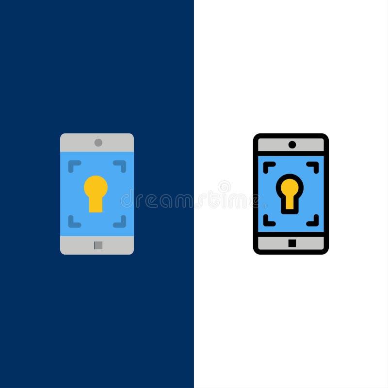 Применение, чернь, мобильное применение, значки экрана Квартира и линия заполненный значок установили предпосылку вектора голубую иллюстрация штока