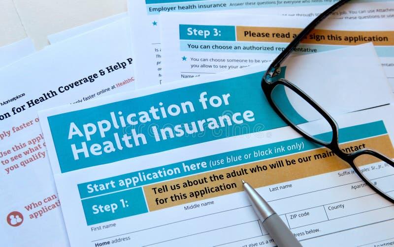 Применение для медицинской страховки стоковая фотография