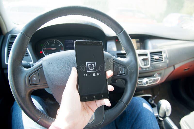 Применение Uber стоковая фотография