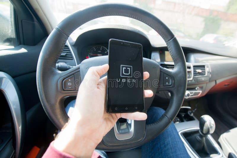 Применение Uber стоковые изображения