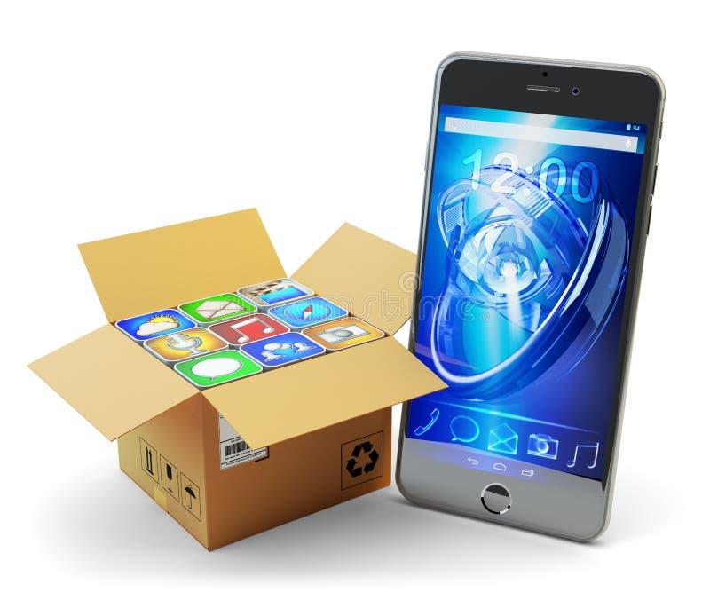 Применения мобильного телефона пакуют, пакет apps компьютера, мультимедийная технология и онлайн концепция рынка магазина иллюстрация вектора