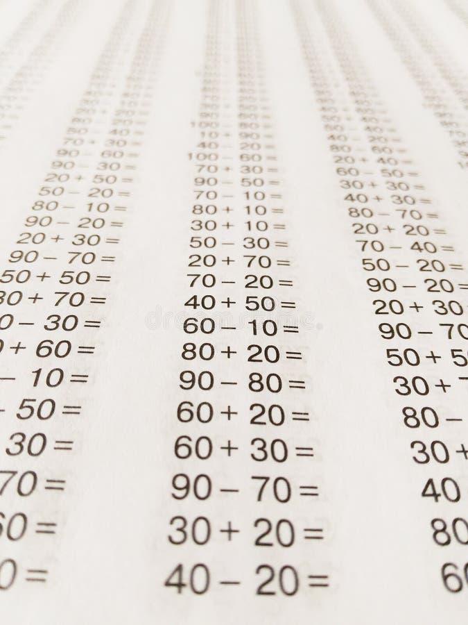 Примеры математики школы стоковые изображения