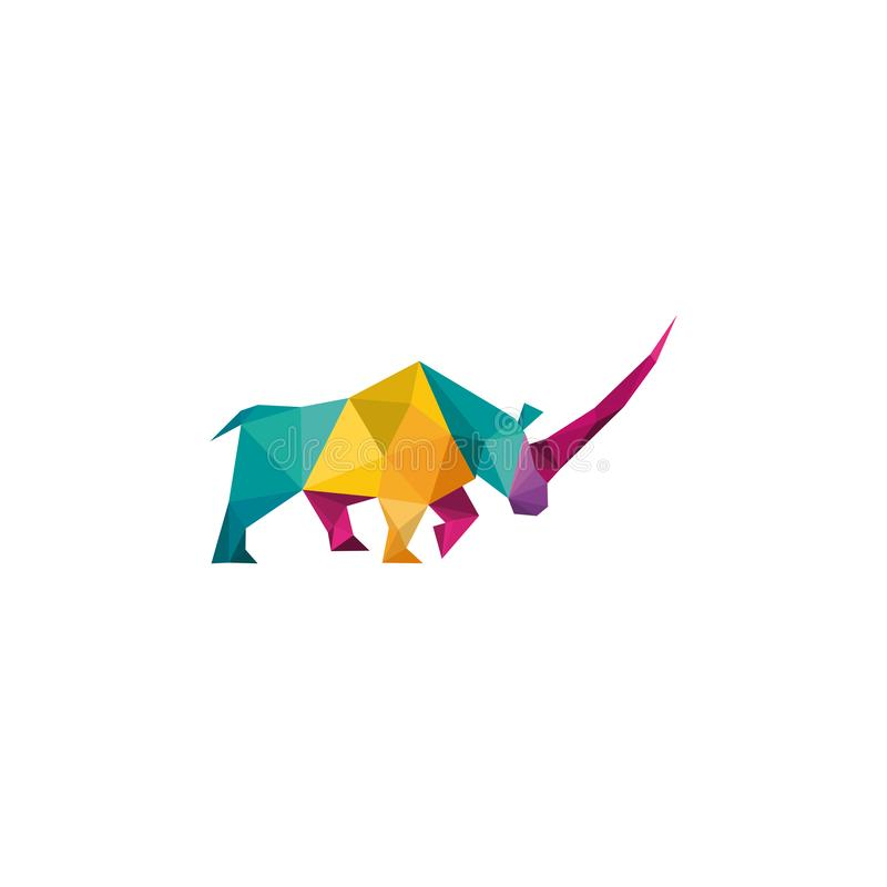 Пример дизайна логотипа Creative Abstract Colorful rhinoceros Logo иллюстрация вектора