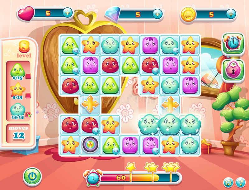 Пример игровой площадки и пользовательского интерфейса для игры иллюстрация штока