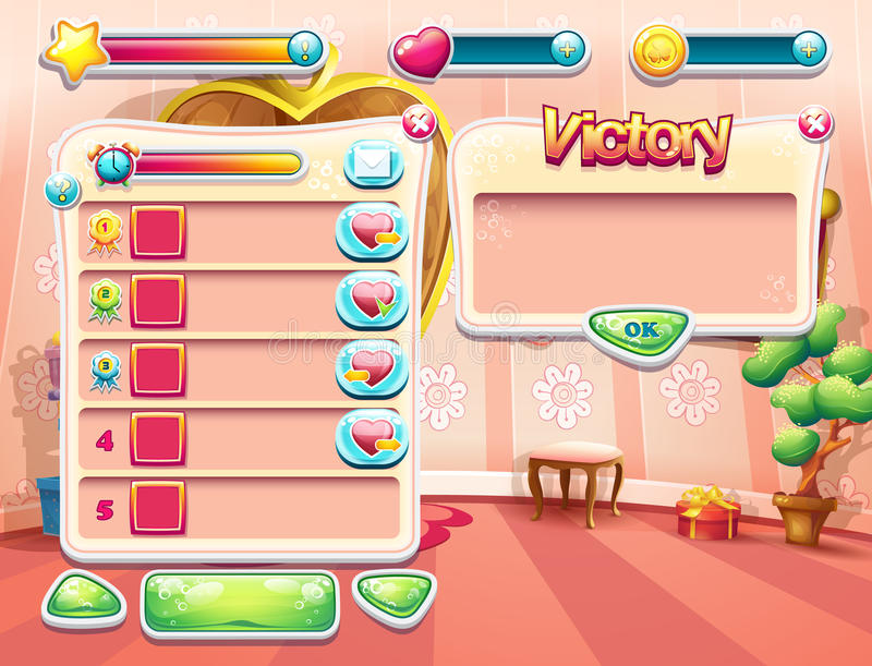 Пример одного из экранов компютерной игры с принцессой спальни предпосылки загрузки, пользовательским интерфейсом и различным ele иллюстрация вектора