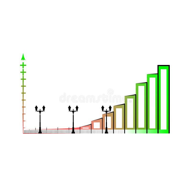 Пример столбчатой диаграммы дела Значок вектора диаграммы в виде вертикальных полос Infographics, изолированный на белой предпосы иллюстрация вектора