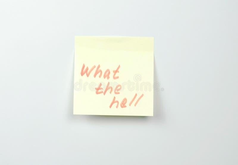 Примечание на листах желтого стикера бумажных со словами мотивации черт возьми стоковое изображение rf