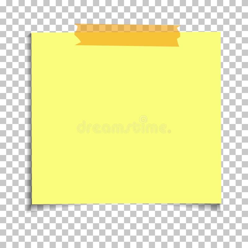 Примечание офиса желтое бумажное липкое на прозрачной предпосылке Шаблон для ваших проектов вектор иллюстрация штока