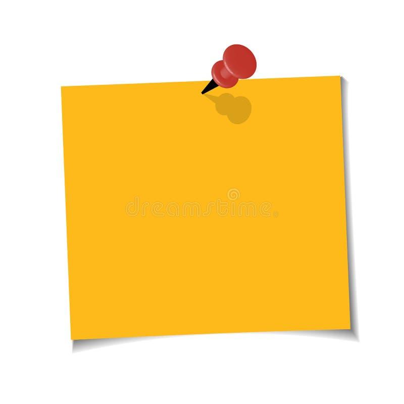 Примечание офиса желтое бумажное при липкая лента, изолированная на прозрачной предпосылке Шаблон для ваших проектов также вектор иллюстрация вектора
