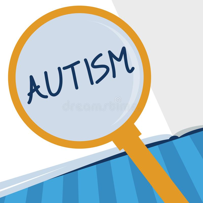 Примечание сочинительства показывая аутизм Затруднение фото дела showcasing в взаимодействовать и формировать дела с другим показ иллюстрация штока
