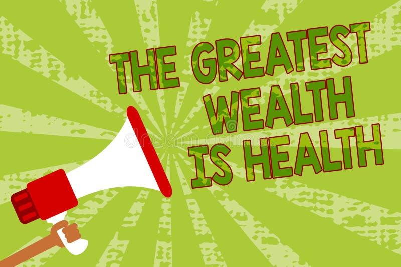 Примечание сочинительства показывая большое богатство здоровье Фото дела showcasing находящся в хороших здоровьях призовые приним иллюстрация штока