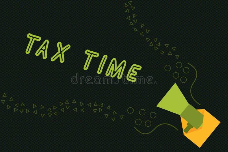 Примечание сочинительства показывая время налога Фото дела showcasing принудительный доход положения вклада собира налоги правите иллюстрация вектора