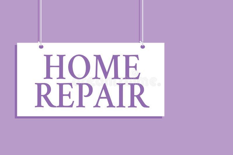 Примечание сочинительства показывая домашний ремонт Обслуживание фото дела showcasing или улучшать ваш собственный дом самостояте иллюстрация штока