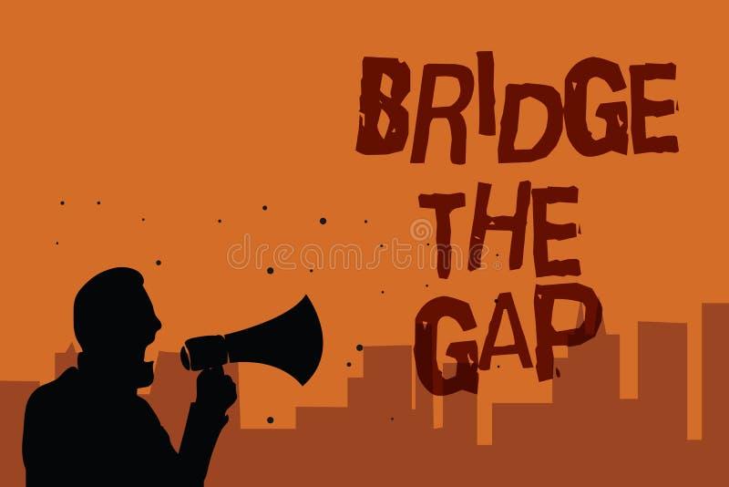 Примечание сочинительства показывая мосту зазор Showcasing фото дела преодолевает человека полномочия смелости возможности препят иллюстрация штока