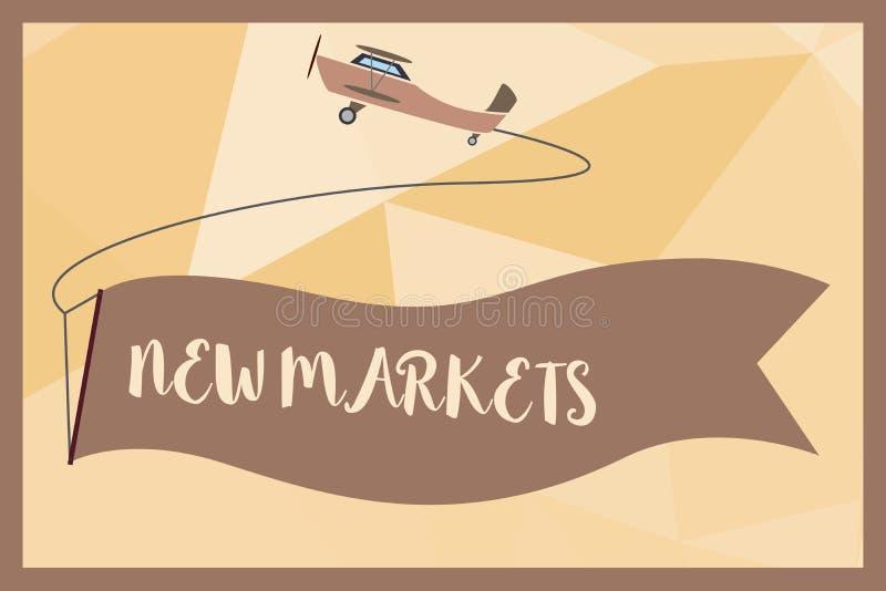 Примечание сочинительства показывая новые рынки Фото дела showcasing различные коммерчески стратегии достигая другие поля иллюстрация вектора
