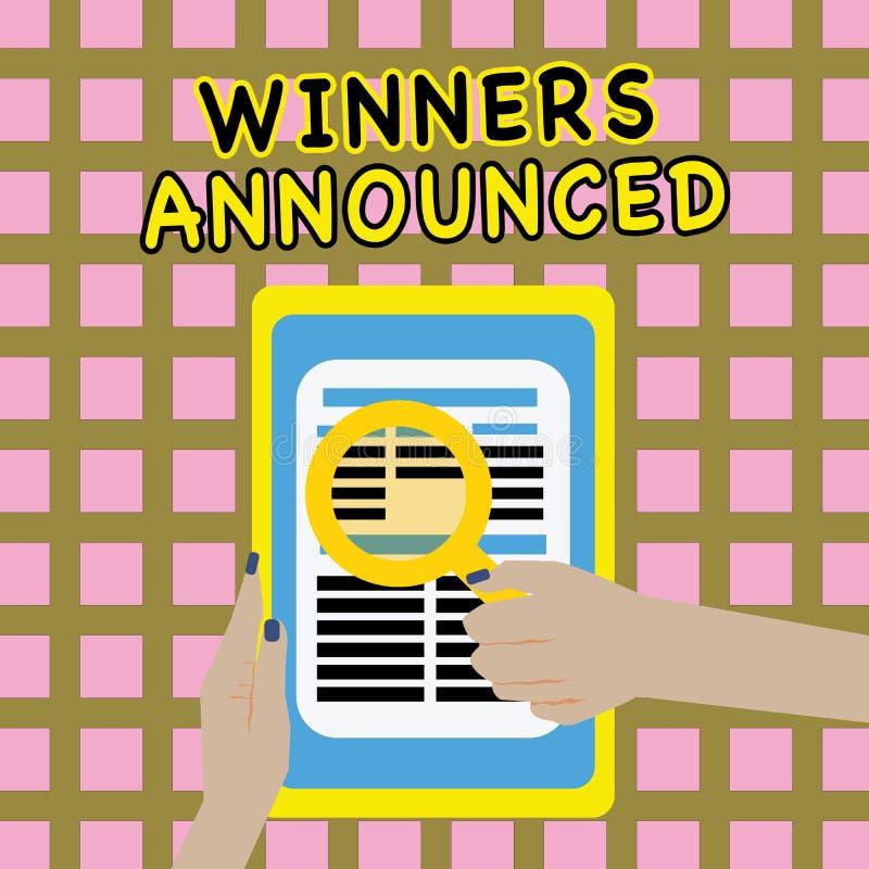 Примечание сочинительства показывая объявленные победителей Фото дела showcasing объявляющ кто выиграло состязание или любую конк иллюстрация вектора