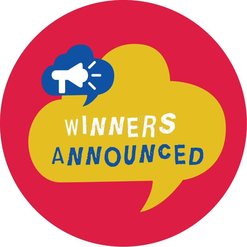 Примечание сочинительства показывая объявленные победителей Фото дела showcasing объявляющ кто выиграло состязание или любую конк иллюстрация штока