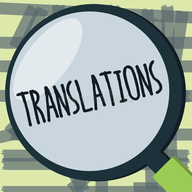 Примечание сочинительства показывая переводы Процесс фото дела showcasing переводить отправляет СМС от одного языка в другие иллюстрация штока
