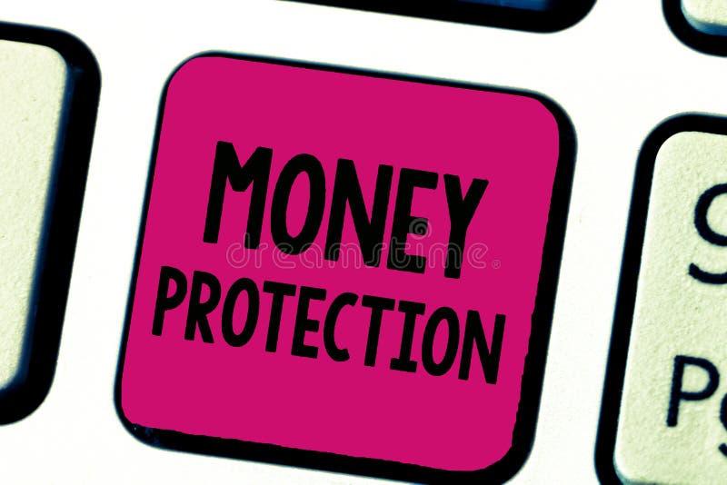 Примечание сочинительства показывая предохранение от денег Showcasing фото дела защищает арендного нанимателя денег оплачивает к  стоковые фото