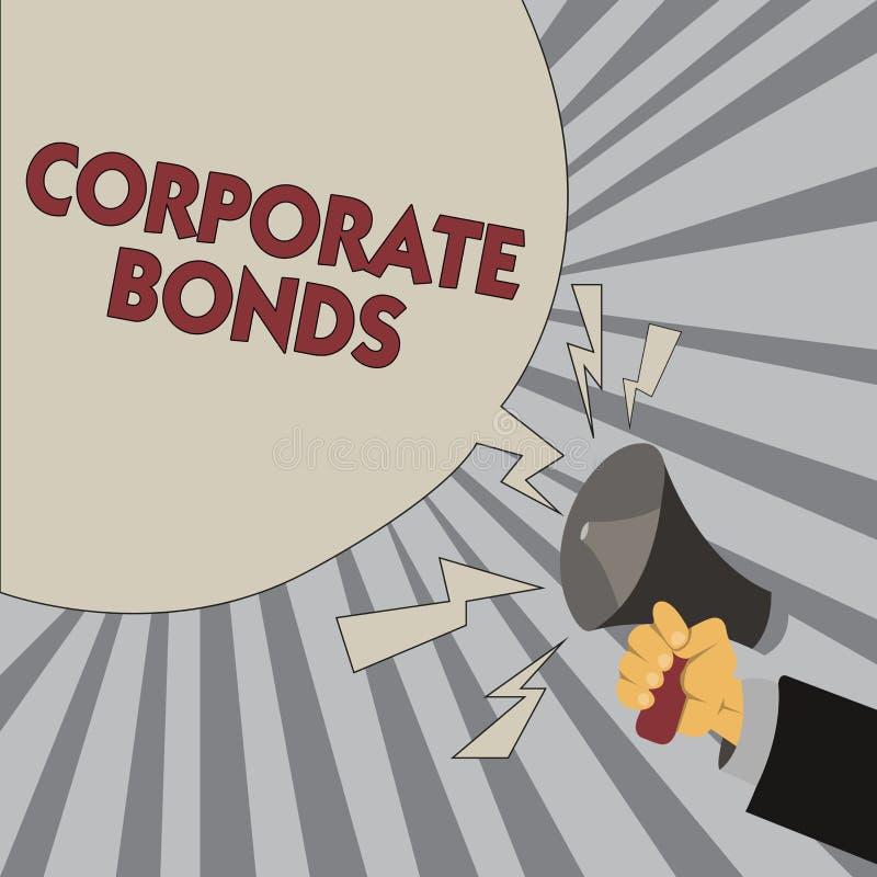 Примечание сочинительства показывая промышленные облигации Корпорация фото дела showcasing для того чтобы поднять финансирование  иллюстрация штока