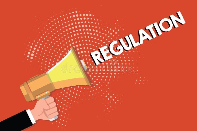 Примечание сочинительства показывая регулировку Закон или директива правила фото дела showcasing сделанный и поддержанный властью иллюстрация вектора