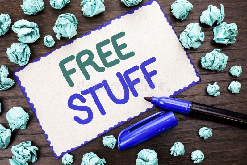 Примечание сочинительства показывая свободное вещество Showcasing фото дела комплементарный свободно цены Chargeless бесплатно Co стоковое изображение rf