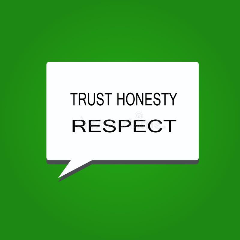 Примечание сочинительства показывая уважение честности доверия Фото дела showcasing респектабельные черты фасетка хорошего нравст иллюстрация вектора