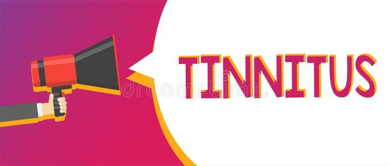 Примечание сочинительства показывая Tinnitus Фото дела showcasing звенеть или музыка a и подобное ощущение звука в ушах укомплект иллюстрация вектора