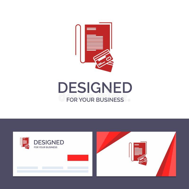 Примечание творческого шаблона визитной карточки и логотипа, тетрадь, карты, кредит, иллюстрация вектора иллюстрация вектора