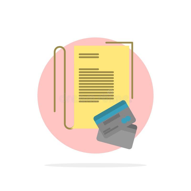 Примечание, тетрадь, карты, кредит, значок цвета абстрактной предпосылки круга плоский иллюстрация вектора