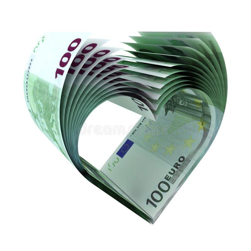 100 примечаний евро как форма сердца иллюстрация вектора