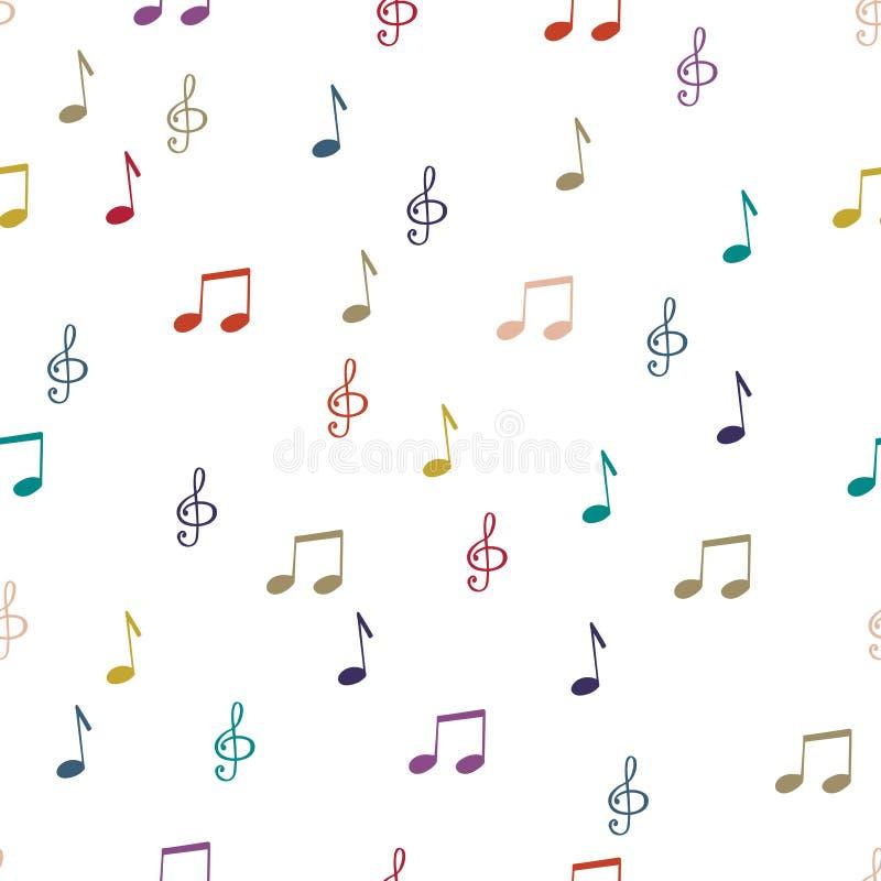 примечания Безшовные примечания предпосылки картины Примечания музыки, вектор дискантового ключа иллюстрация штока
