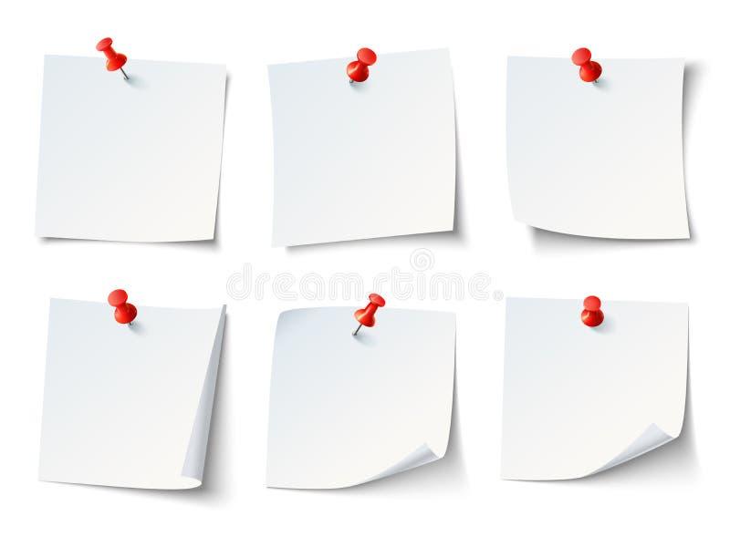 Примечания белой бумаги на красной канцелярской кнопке Стикер примечания взгляд сверху с комплектом вектора штырей бесплатная иллюстрация