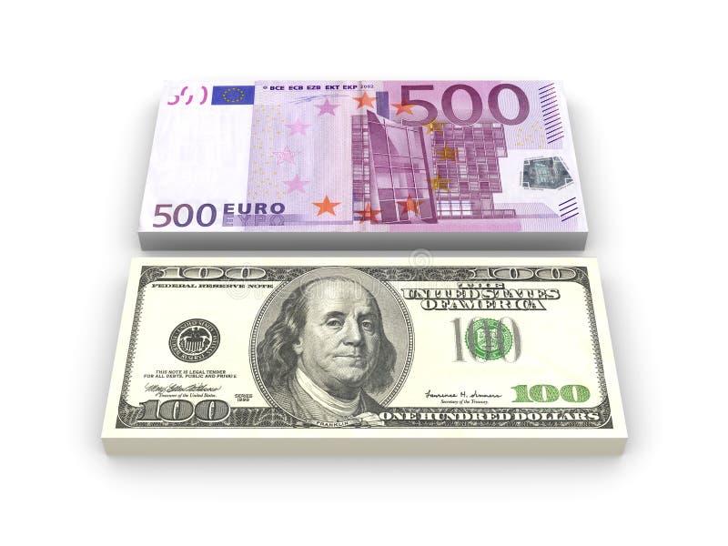 примечания евро доллара иллюстрация штока