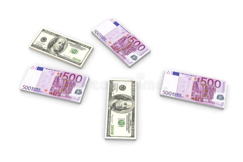 примечания евро доллара иллюстрация вектора