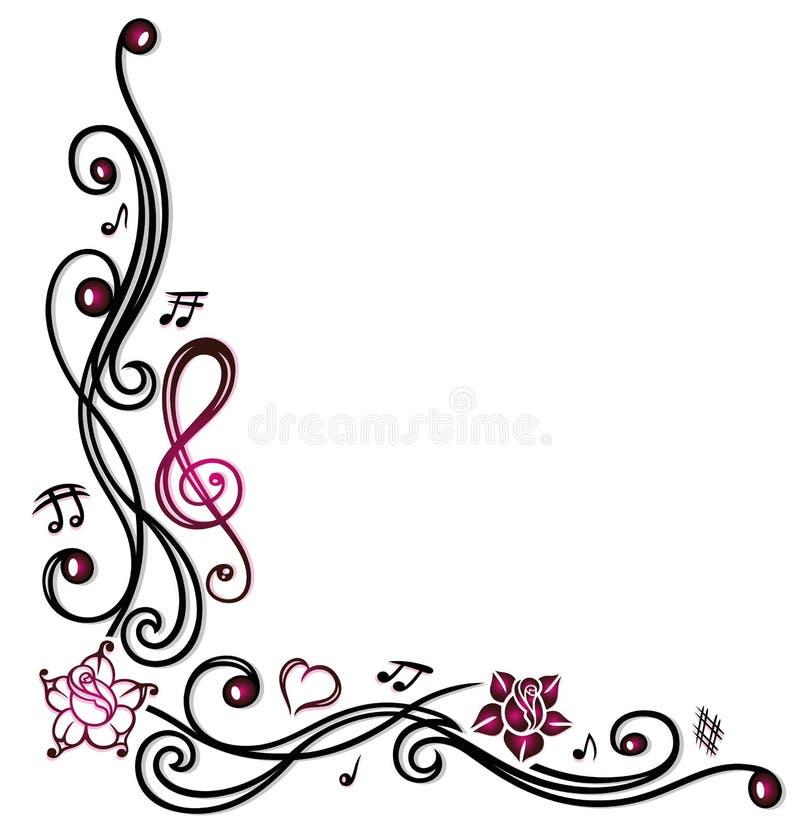 Примечания, ключ и цветки музыки иллюстрация вектора