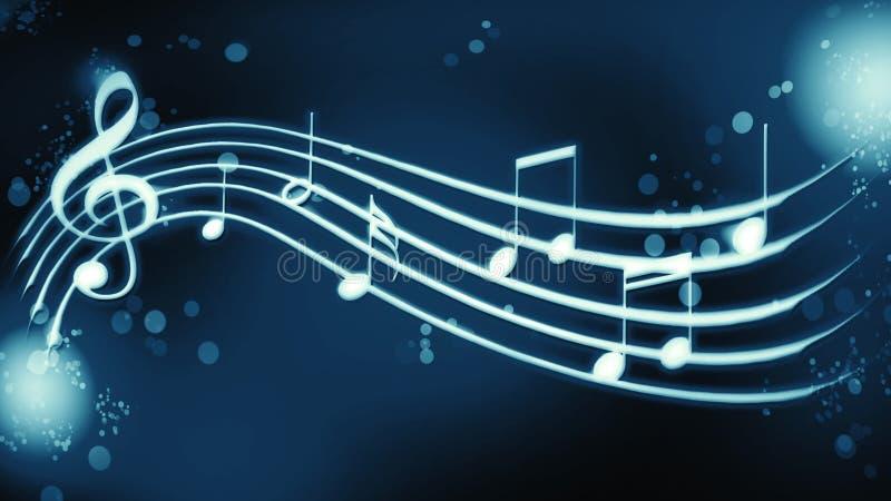 Примечания мелодии предпосылки на голубом цвете иллюстрация штока